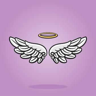 Engelenvleugels met gouden nimbus platte afbeeldingen, cartoonillustratie