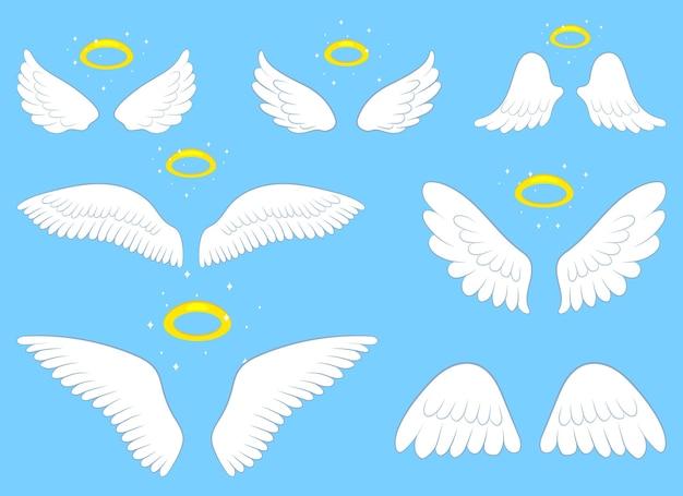 Engelenvleugels ontwerp illustratie geïsoleerd op blauwe achtergrond