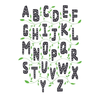 Engels alfabet in scandinavische stijl. vector engelse letters voor kinderen die leren met groene plantelementen