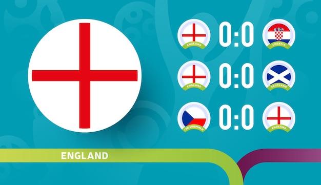 Engels elftal schema wedstrijden in de laatste fase van het voetbalkampioenschap 2020
