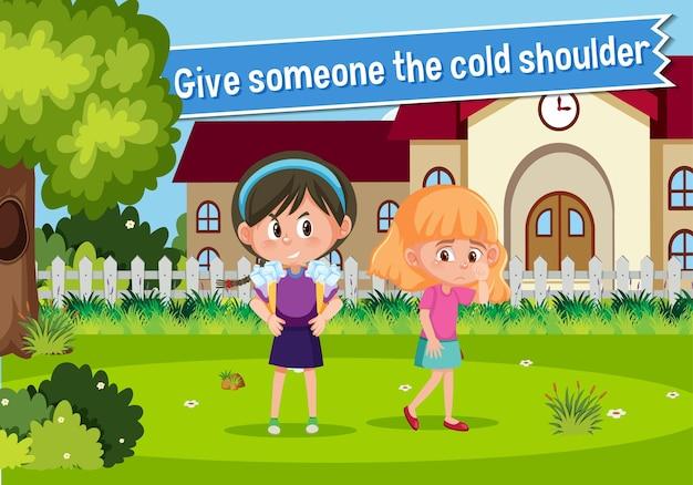 Engels idioom met afbeeldingbeschrijving voor iemand de koude schouder geven