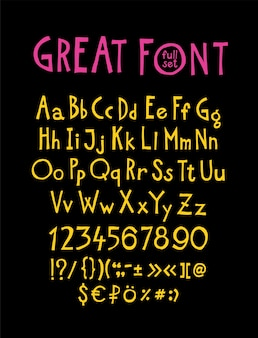 Engels, origineel display-lettertype. een complete set tekens, cijfers, hoofdletters en kleine latijnse letters.