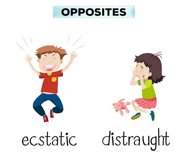Engels tegenovergesteld woord van extatisch en radeloos