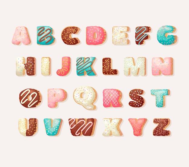 Engels zoet doughnutalfabet. kinder alfabet. alfabetische set in bakkerij donuts stijl. wensfeest lettertype.