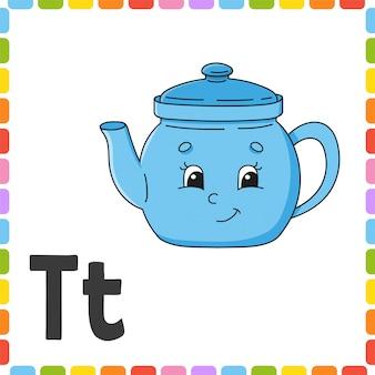 Engelse alfabet. letter t - theepot. abc vierkante flash-kaarten.