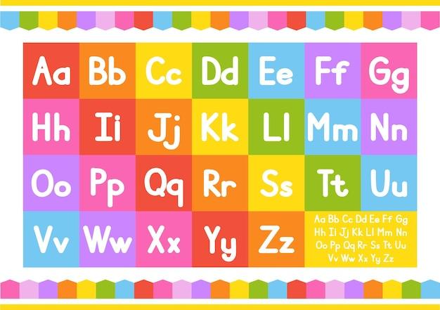 Engelse alfabet vector set felle kleurstijl cartoon abc