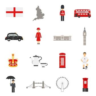 Engelse cultuur vlakke pictogrammen collecties