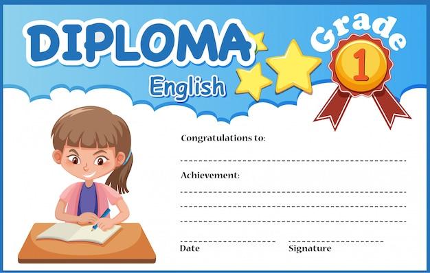 Engelse diploma certificaatsjabloon
