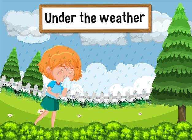 Engelse idioom met fotobeschrijving voor onder het weer