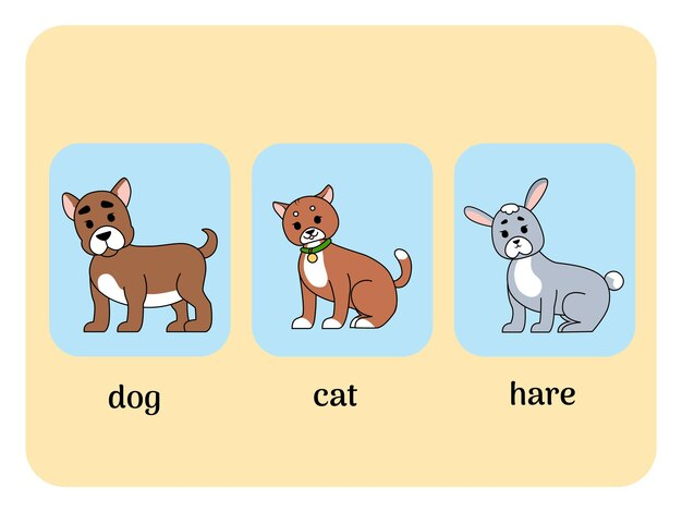 Engelse kaarten met dieren, kat, hond en haas. vector illustratie