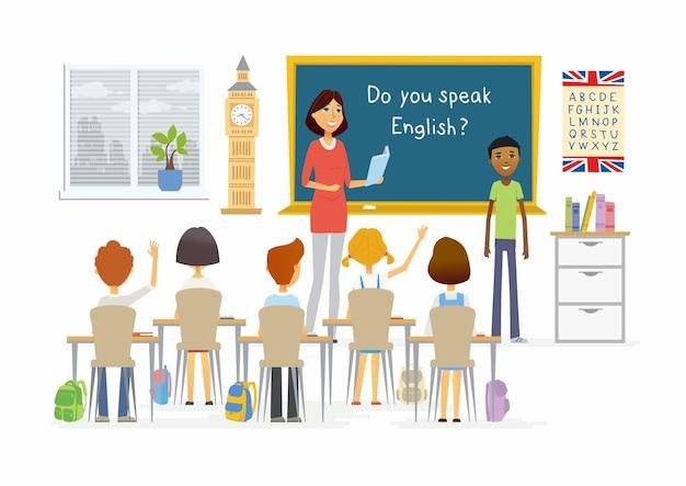 Engelse les op school - de karaktersillustratie van beeldverhaalmensen met een leraar, een jongen die bij het bord spreekt en kinderen die handen opsteken. compositie met boeken, alfabet, plant, bureaus, big ben