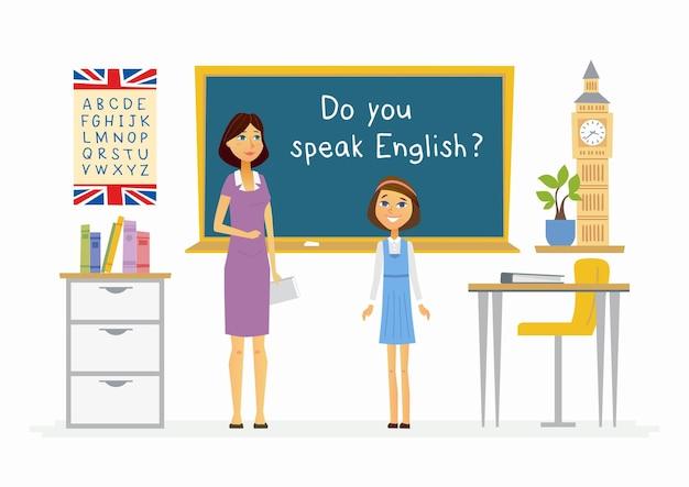 Engelse les op school - de karaktersillustratie van beeldverhaalmensen met een leraar en een gelukkige student die bij het bord spreken. compositie met boeken, alfabet, plant, bureaus en big ben