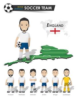 Engelse nationale voetbalbekerploeg. voetballer met sporttrui staat op de landkaart van het perspectiefveld en de wereldkaart. set van voetballer posities. cartoon karakter plat ontwerp. vector.