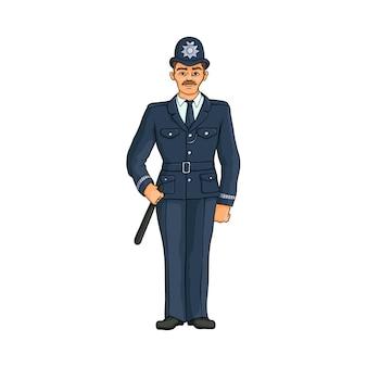 Engelse politieman, agent in hoge hoed met knuppel