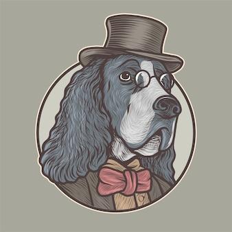 Engelse springerspaniël hond met bril en smoking handgetekende vectorillustratie