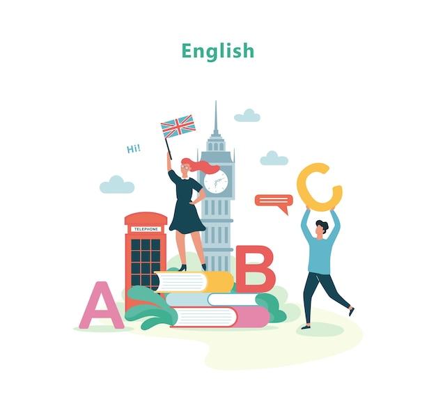 Engelse taalles op school. idee van onderwijs