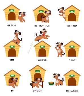 Engelse voorzetsels leren met het karakter van een schattig klein hondje