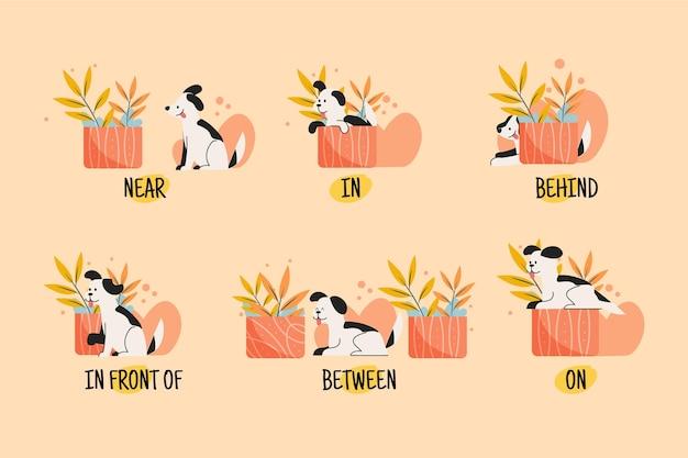 Engelse voorzetsels met illustraties van honden