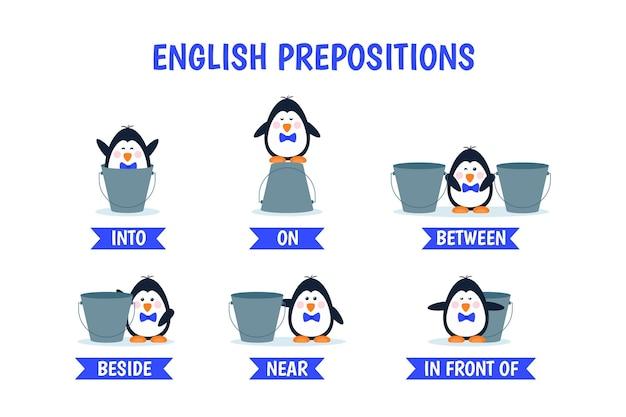 Engelse voorzetselscollectie met pinguïn