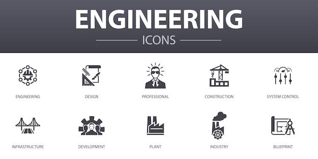 Engineering eenvoudig concept pictogrammen instellen. bevat iconen als design, professional, systeemcontrole, infrastructuur en meer, kan worden gebruikt voor web, logo, ui/ux