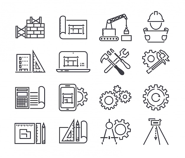 Engineering en productie vector icon set