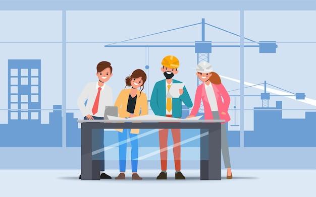 Engineering teamwork plat karakter animatie cartoon vector