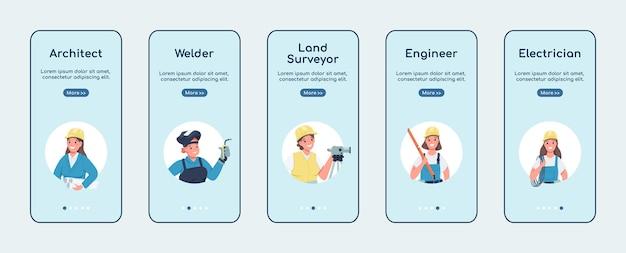 Engineering vrouwen banen onboarding mobiele app platte schermsjabloon