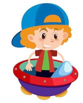 Enig karakter van jongen in ufo op witte achtergrond