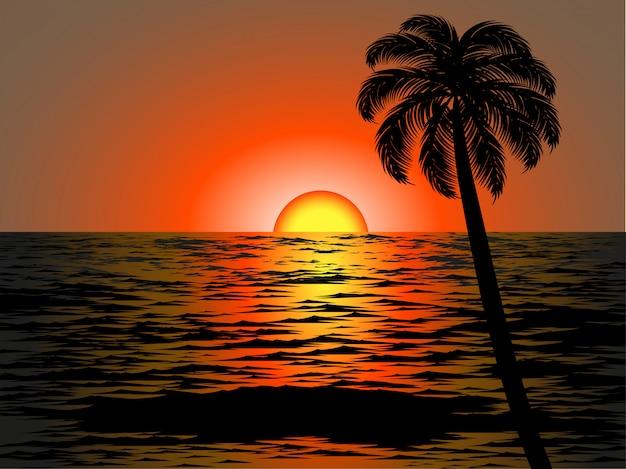 Enige boom in zonsondergangstrand