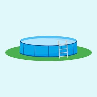 Enkel bovengronds zwembad op het gras.