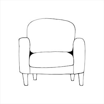 Enkel element van fauteuil in doodle set. thuiskantoor. handgetekende vectorillustratie voor kaarten, posters, stickers en professioneel ontwerp.