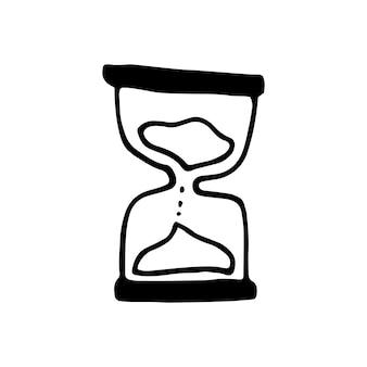 Enkel element van zand-glas in doodle zakelijke set. handgetekende vectorillustratie voor kaarten, posters, stickers en professioneel ontwerp.