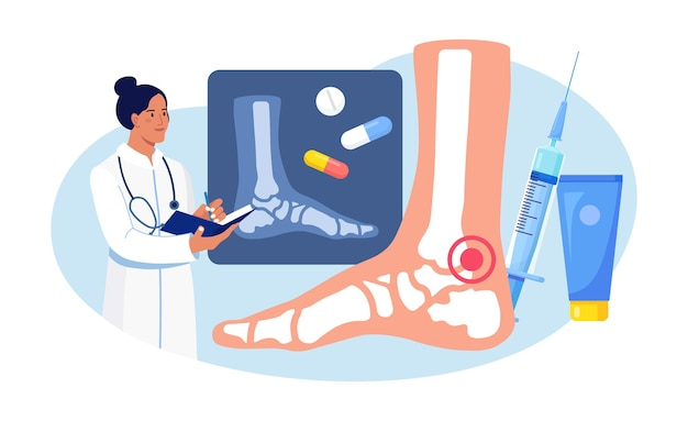 Enkel voet artritis. arts die röntgenfoto's van gewrichten onderzoekt. artrose, reumatoïde artritis, reumaziekte. arts behandelt patiënt gewrichtspijn