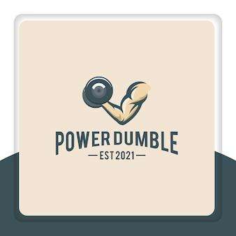 Enkele armspier met dumbbell-logo-ontwerp voor gym sport fitness