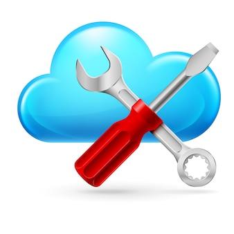 Enkele cumulus cloud en tools