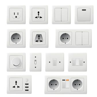 Enkele en paneelstroom stopcontact illustratie
