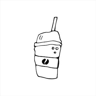 Enkele hand getekende kopje koffie, chocolade, cacao, americano of cappuccino. doodle vectorillustratie.