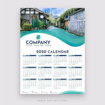 Enkele kalender 2020 vloeibare frame foto