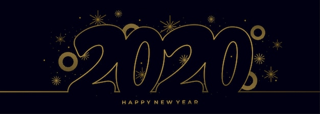 Enkele lijntekening van het nieuwe jaar 2020 met gouden kleuren banner