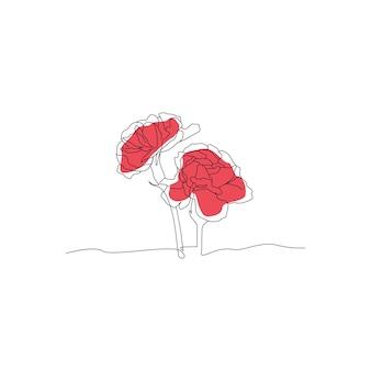 Enkele lijntekening van roze bloem illustratie handgetekend