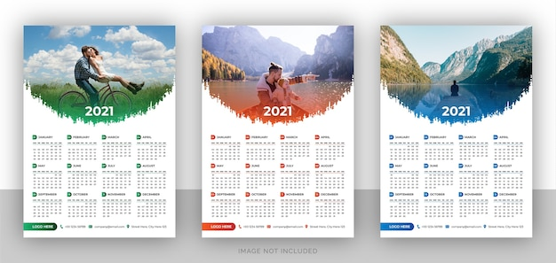 Enkele pagina kleurrijke reisbureau muur kalender ontwerpsjabloon