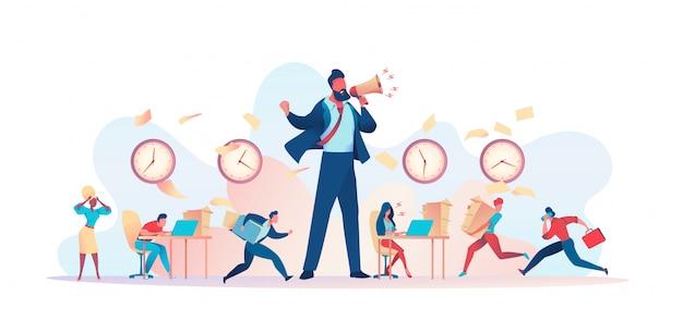 Enorme boze baas schreeuwt in luidspreker deadline