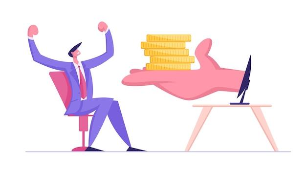 Enorme palm stapel gouden munten te geven aan gelukkig zakenman achter computerscherm