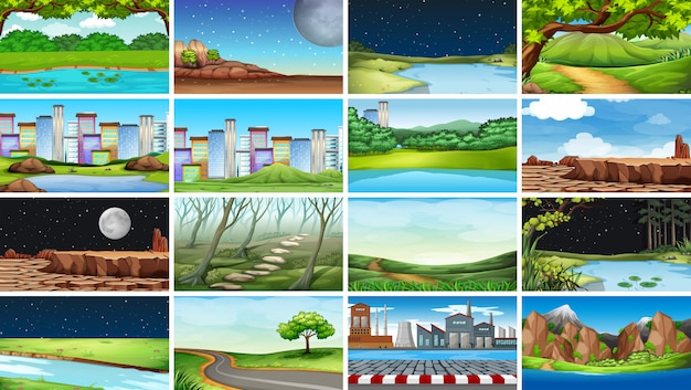 Enorme set van natuur, stedelijke, fabrieks- en landelijke scènes of achtergrond