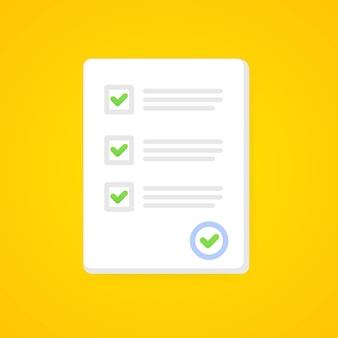 Enquête- of examenformulierpapier met antwoordchecklistquiz en evaluatie van succesresultaten. onderwijs test idee, vragenlijst, document vectorillustratie. eps 10