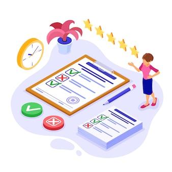 Enquêtefeedback of testbanner met isometrisch karakter. feedback online. vragenlijstformulier op klembord. enqueteonderzoek. isometrisch