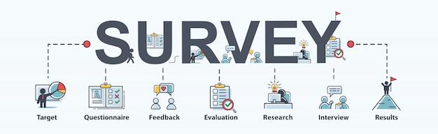 Enquêtepictogram voor bedrijven en marketing, vragenlijst, tevredenheid en onderzoek.