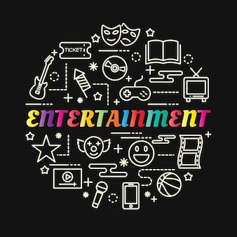 Entertainment kleurrijke verloop met lijn pictogrammen instellen Premium Vector