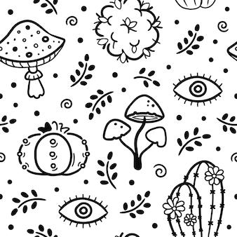 Entheogeen planten naadloos patroon