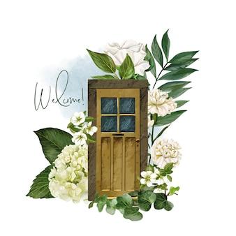 Entreeontwerp met bloemenconcept